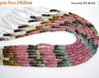 40%OFF 3 Strands Wholesale 13 Inch 4-5mm Natural Multi Tourmaline Faceted Rondelle Beads Strand(0782-84)