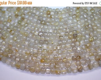 """40%DIS 3 x 9"""" 7mm Natural Golden Rutilated Quarts Faceted Cube Shape Beads-Superb Quality-Wholesale"""