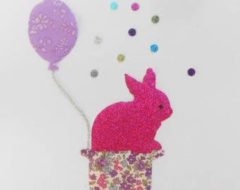Applied fusible surprise rabbit! liberty capel Parma violet and lecien fabric