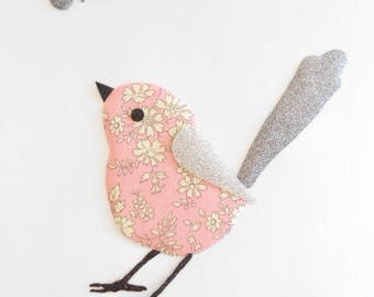Applied fusible pink bird and grey Butterfly
