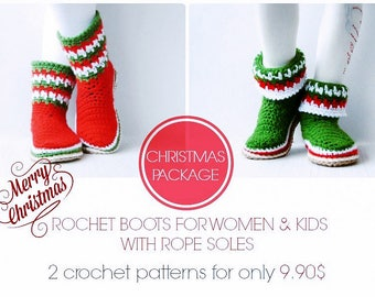 Christmas package!  2 crochet patterns for Xmas boots,for women & kids,rope soles pattern included,adult,toddler,Xmas gift,family,loafers