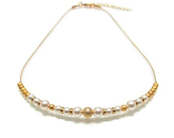 Bridal Bib Necklace, Pearl and Gold Ball Necklace, Gold ball chain necklace, Pearl Strand Bridal Jewelry, 1900's jewelry
