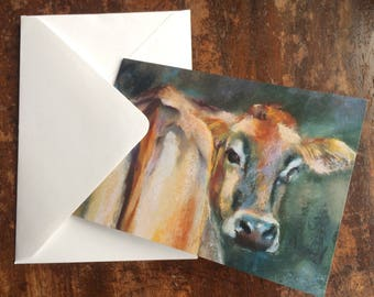 Jersey over the Shoulder. Greetings card from an original pastel painting