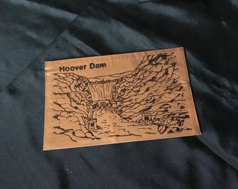 Vintage Hoover Dam Souvenir Genuine Copper Engraved Postcard