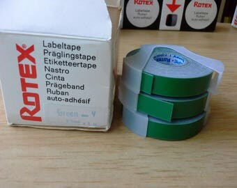 Green Rotex Label tape  9.5mm by 4m - for 1 only