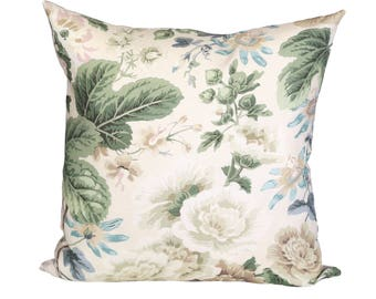 READY TO SHIP - 20x20 Highgrove Floral designer pillow cover with flax linen reverse