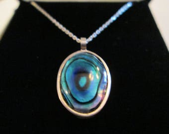 "10x14 MM Oval Abalone Shell Pendant Set in Solid Backed Sterling Bezel With 18"" Sterling Chain"
