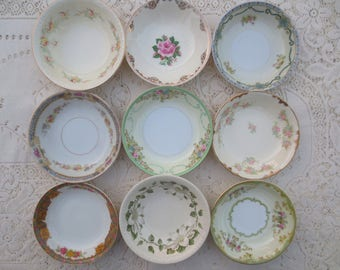 Set of Mismatched Floral China Berry Bowls.  Small Bowls.  Shabby Chic China.  Antique Side Bowls.  Bridesmaid Gift. Tea Party Favors.