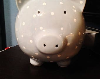 ON SALE - Vintage Bably Blue/Grey and White Pokidot Piggy Bank with a Coin Slot and Rubber Stopper
