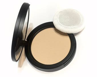 ALMOND CREAM Natural Mineral Pressed Foundation or Setting Powder - Gluten Free Vegan Makeup