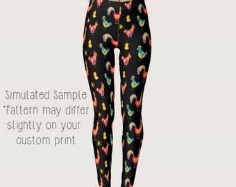 Chicken Leggings, Custom Printed, Yoga Pants, Full Length, farm, country, coop, farmer, farming, homestead, Rooster, Hens - XS-XL- Chicken 5