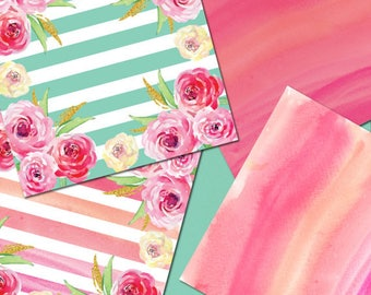 Watercolor Digital Papers, Mint Pink and Gold, 10 Peony Inspired Digital Watercolor papers, Hand Painted Stripes