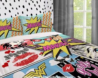 girls superhero bedding comic book bedding superhero comforter girls bedding set superhero bedroom decor comic
