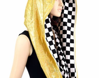 HUGE Extra Long Gold/Gold Shattered Glass & Black and White Checkered Print Festival Rave Reversible Cowl Hood - 154775