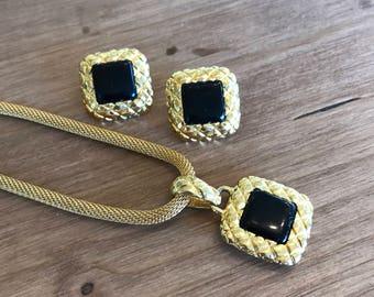 Necklace and Earring Set Gold Black Square Pendant Estate Jewelry Liz Claiborne Vtg
