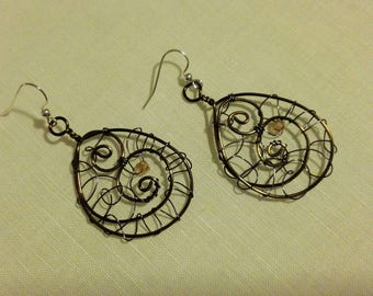 Bronze wire squiggle earrings
