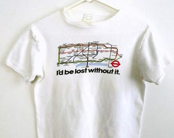 ON SALE! London Underground T-Shirt 1980s Women's London Subway Souvenir T-Shirt White Tee Size Medium