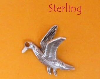 Sterling Silver Bird Charm, Vintage 3D Flying Bird Pendant, Charm Bracelet, Gift idea