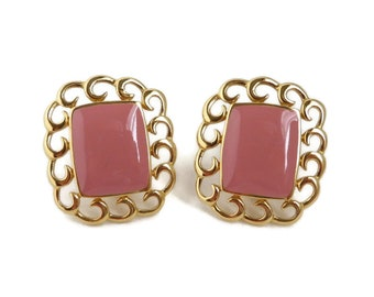 Monet Pink Gold Tone Earrings, Vintage 1970s Dusty Rose Clip-on Earrings