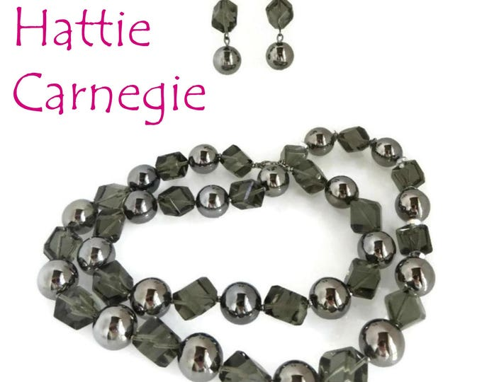 Hattie Carnegie Necklace, Earrings, Smoky Glass Demi Parure, Signed Designer Set, FREE SHIPPING