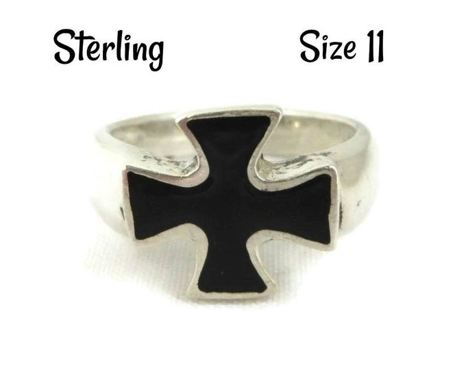 Sterling Silver Cross Ring - Black Enamel Cross Ring, Unisex Ring, Size 11