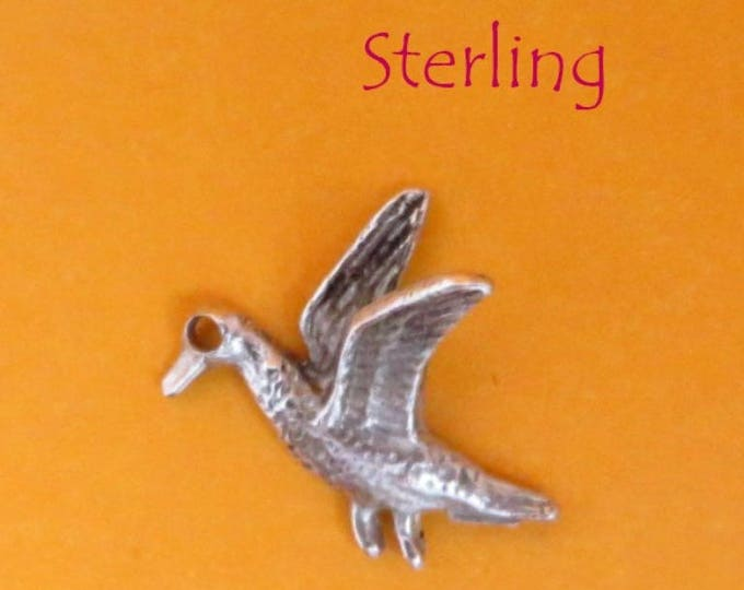 Sterling Silver Bird Charm, Vintage 3D Flying Bird Pendant, Charm Bracelet, Gift idea