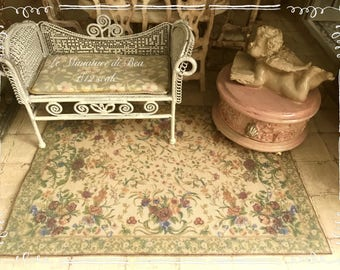 1:12 french rug aubusson 19*14.5cm aged fabric and felt - miniature - dolls house - hand made - shabby chic