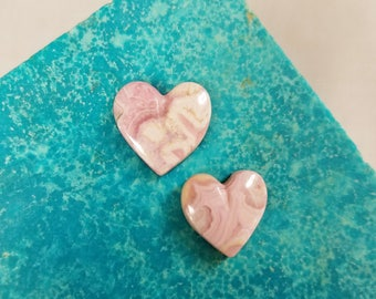 Pink Rhodocrosite Heart Cabochon Set/ backed