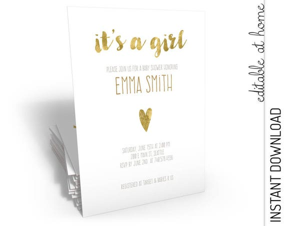 It's a Girl Baby Shower Invitation Gold Foil INSTANT DOWNLOAD