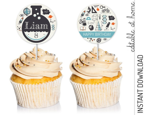 Science Cupcake Topper INSTANT DOWNLOAD