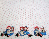 Fabric Remnant - Border Print - Raggedy Ann and Raggedy Andy - 2 Yards by 20 Inches