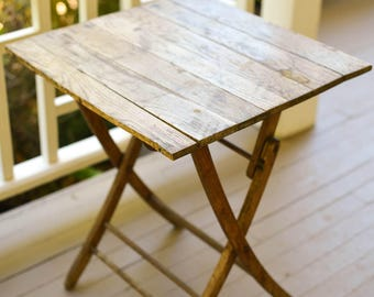 Folding Table, Vintage Small Industrial Folding Table, Night Stand