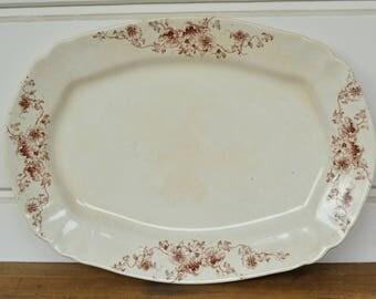 English Ironstone Platter, Brown Transferware Platter, Made in England