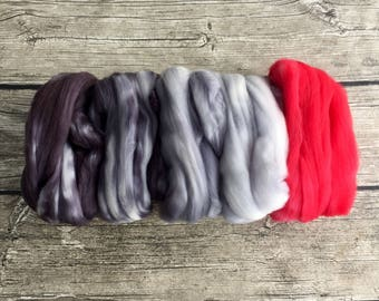 If She Doesn't Scare You, No Evil Thing Will - Gradient Set - Hand Dyed Superwash Merino Nylon Roving - 3.5 oz Spinning Fiber