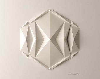 DodecaE1 White Wall Art Folded Paper Crystal Mosaic Relief Modern Geometric Abstract Sculpture Created by Kubo Novak