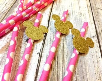 12 minnie mouse straws, minnie mouse birthday straws, minnie mouse birthday, minnie mouse decorations, minnie mouse birthday