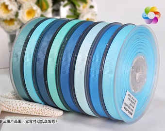 "Grosgrain ribbon, Light Blue III,  2"", 1-1/2"", 1"", 7/8"", 3/4"",5/8"", 3/8"", 1/4"""