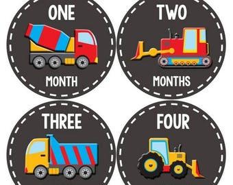 Monthly Baby Milestone Stickers Baby Boy Baby Shower Gift One-Piece Baby Stickers Monthly Baby Stickers Baby Month Sticker Dump Truck  1092