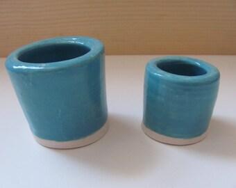 Match Striker - Teal - Handmade ceramic match holder with strike plate