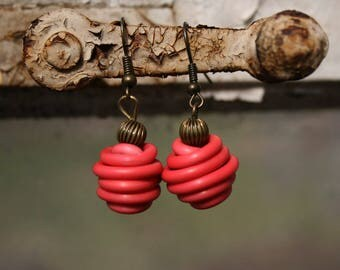 Upcycled jewelry. Red earrings made of recycled electric cables HONGKONG