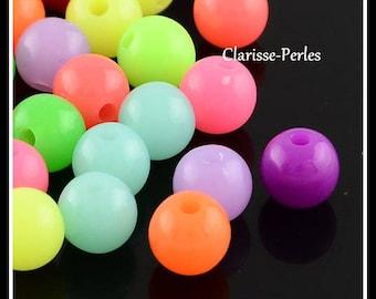 100 perles rondes acryliques fluorescents multicolores 8mm trou 1,5mm, Lot Grossiste
