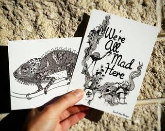 Chillmeleon Chameleon Lizard Black and White Glossy A6 Postcard