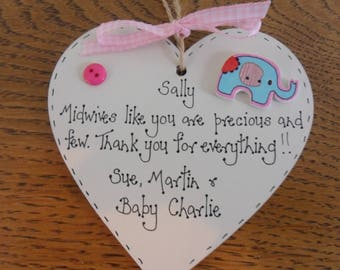 Midwife nurse thank you personalised keepsake gift 10cm wooden heart