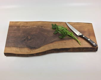 Walnut wood cutting board / Wood serving tray / cheese board with natural live edge Ready to Ship