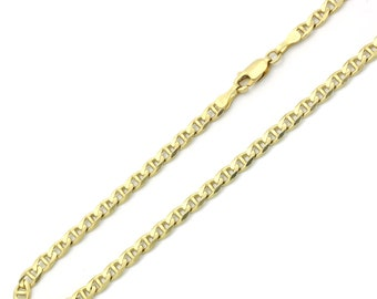 4mm 14K Yellow Gold Chain Flat Mariner Link Chain Necklace / Gift box(MN138-807)