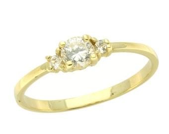Women 14K Gold Ring White CZ Yellow Gold Ring(DJBJR21)