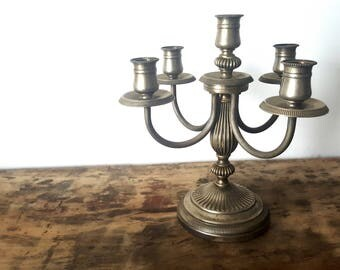 French Vintage Brass Candelabra, Candle Holder/ French decor / Boho chic/ French romantic /Wedding decor/ French country
