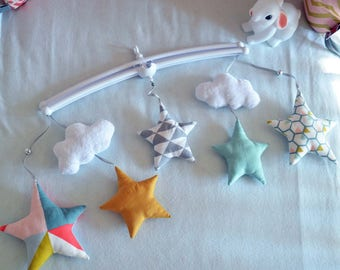 AVAILABLE now - Mobile musical stars and clouds - Mint, gray, coral, dusty pink and mustard