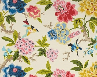 Waverly Candid Moment Gardenia Indoor/Outdoor Fabric, Pink Yellow Blue Floral Upholstery Fabric, Birds and Peony Outdoor Fabric by the yard