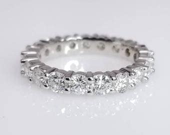 Diamond Eternity Band Shared Prong Setting - Unique Handcrafted Wedding Band